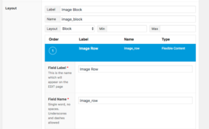 screenshot of flexible content layout being created into flexible content
