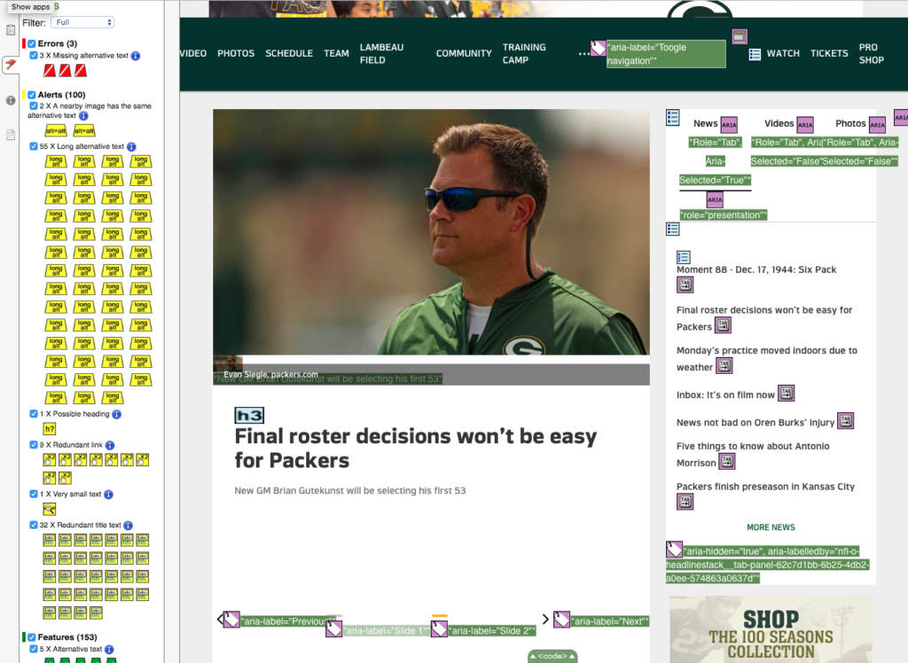 wave tool on packers website example